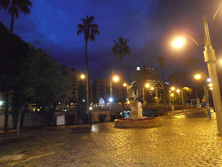 In Front of Plaza de la Marina, Malaga at night
