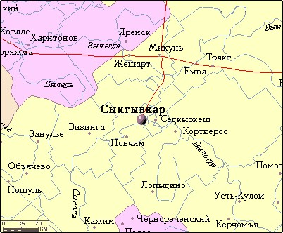 карта пригорода сыктывкара