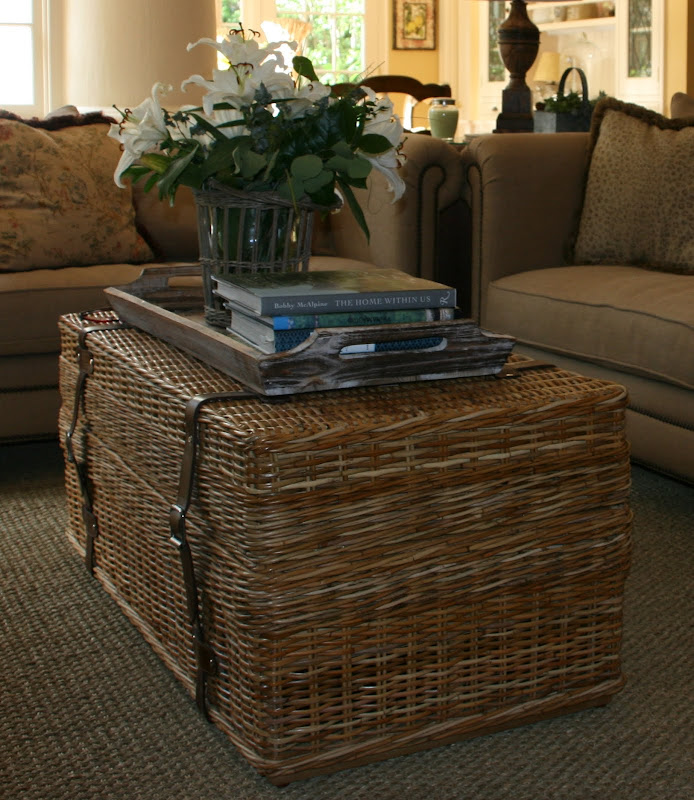 Vignette design warm wonderful woven wicker Coffee table with wicker baskets