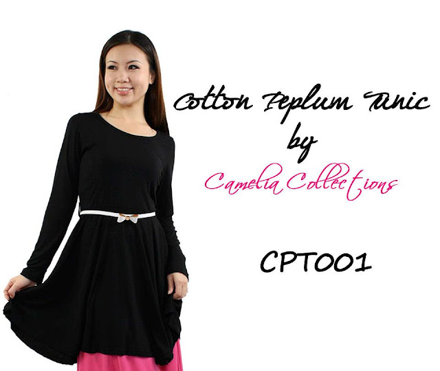 cotton peplum tunic black