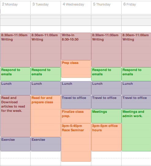 Get a Life, PhD: Start the Semester off Right: Make a Weekly Template