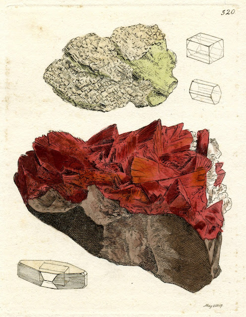 SILEX Ichthyopthalmus. Ichthyopthalmite.  Location: Strontian. Plate no. 520. From: Sowerby, James. 1802-1817. British Mineralogy: Or Coloured figures intended to elucidate the mineralogy of Great Britain. Plate from vol: 5. page no.225.
