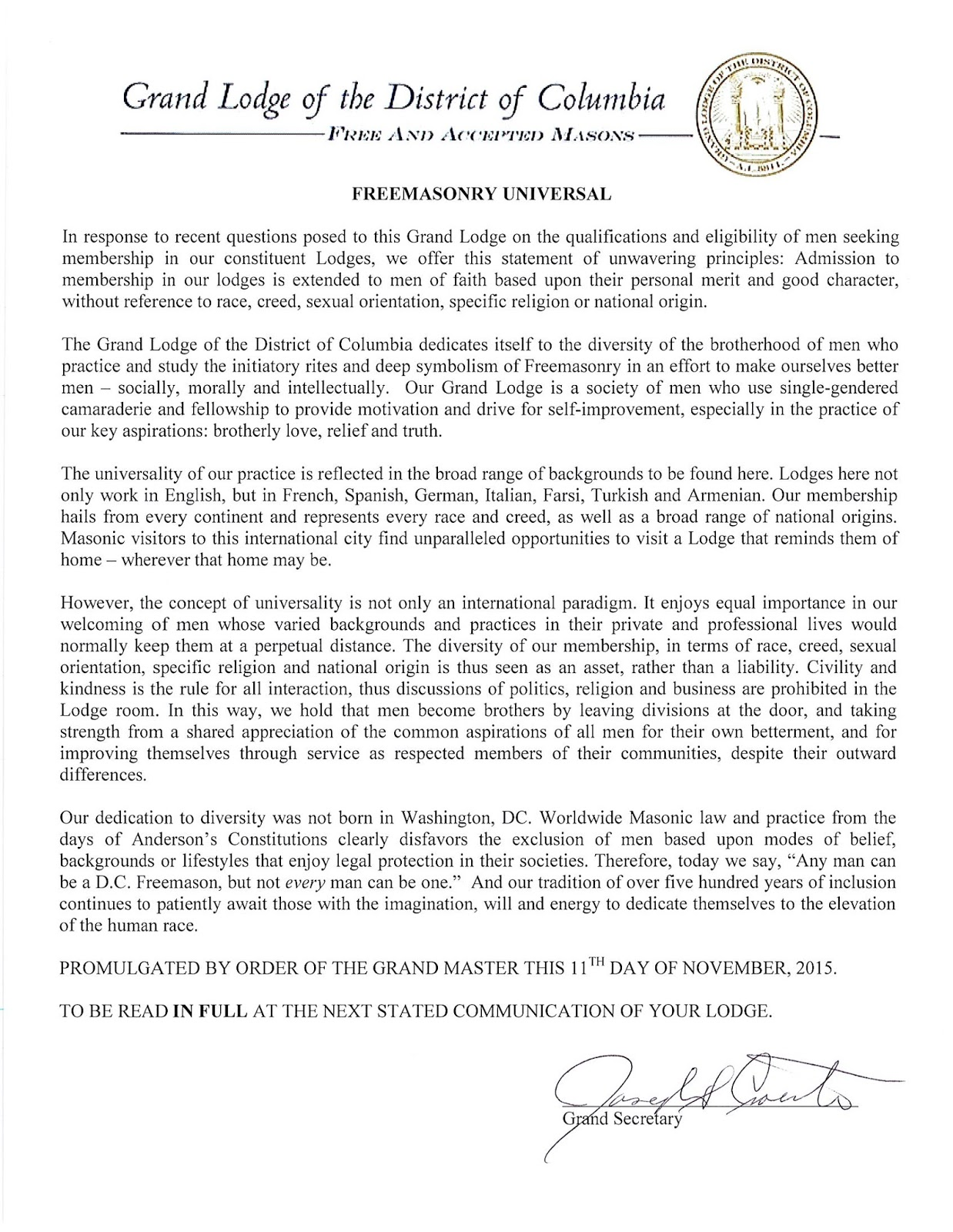 Freemasons for dummies glofdc issues statement concerning glofdc issues statement concerning eligibility for masons altavistaventures Images