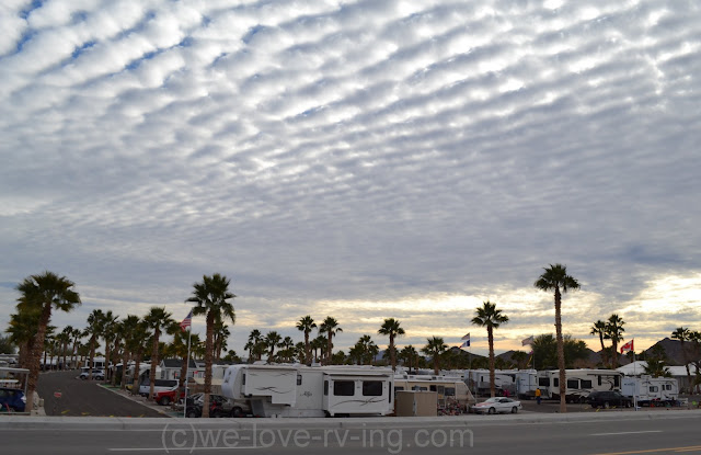 RV park under an interesting cloudy sky