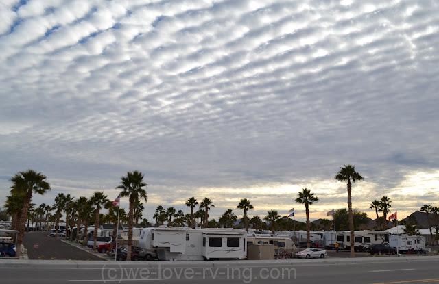 RV park under an interesting cloudy sky
