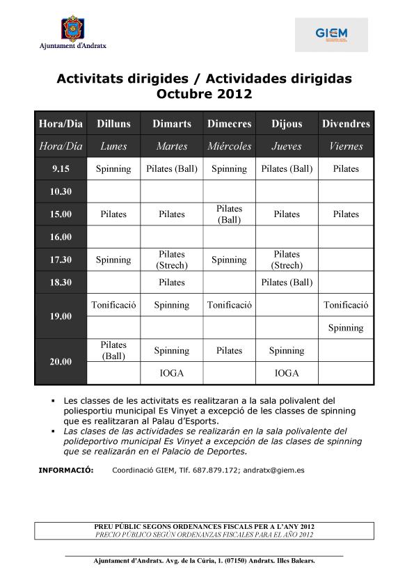 Activitats Dirigides Octubre