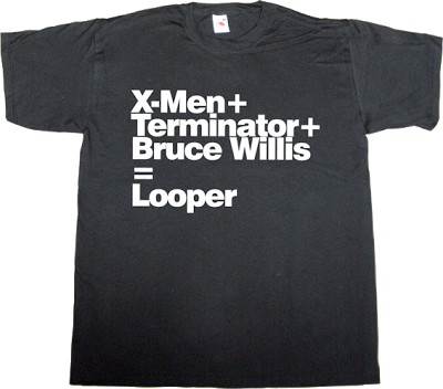 x-men terminator Arnold Schwarzenegger Bruce Willis fun irony movie hollywood creative t-shirt ephemeral-t-shirts