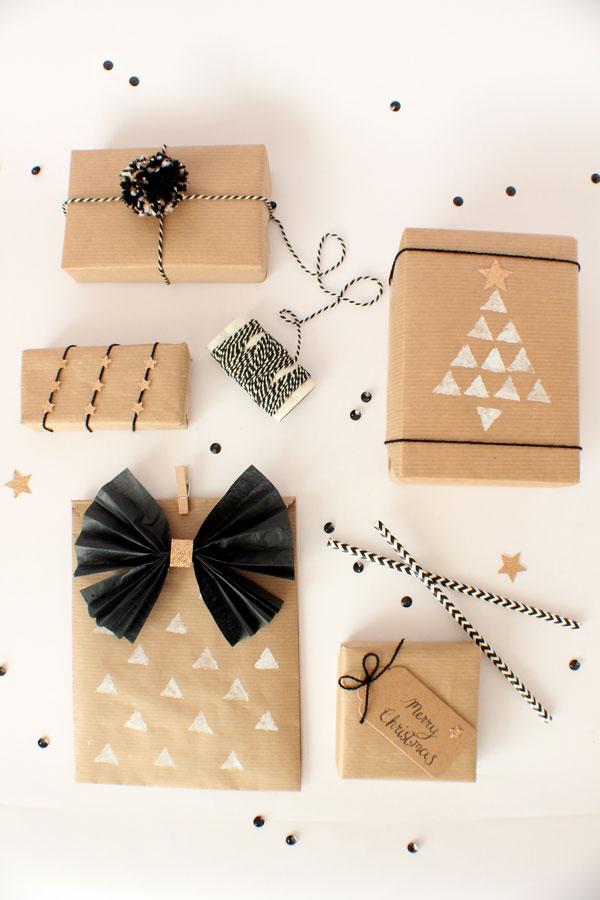 Kerstcadeaus versieren - inpakpapier versieren