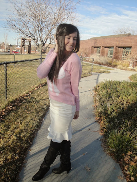 booties, Boots, bow necklace, bow sweater, bows, heel boots, high heel boots, macys, pretty, pretty sweater, shopko,