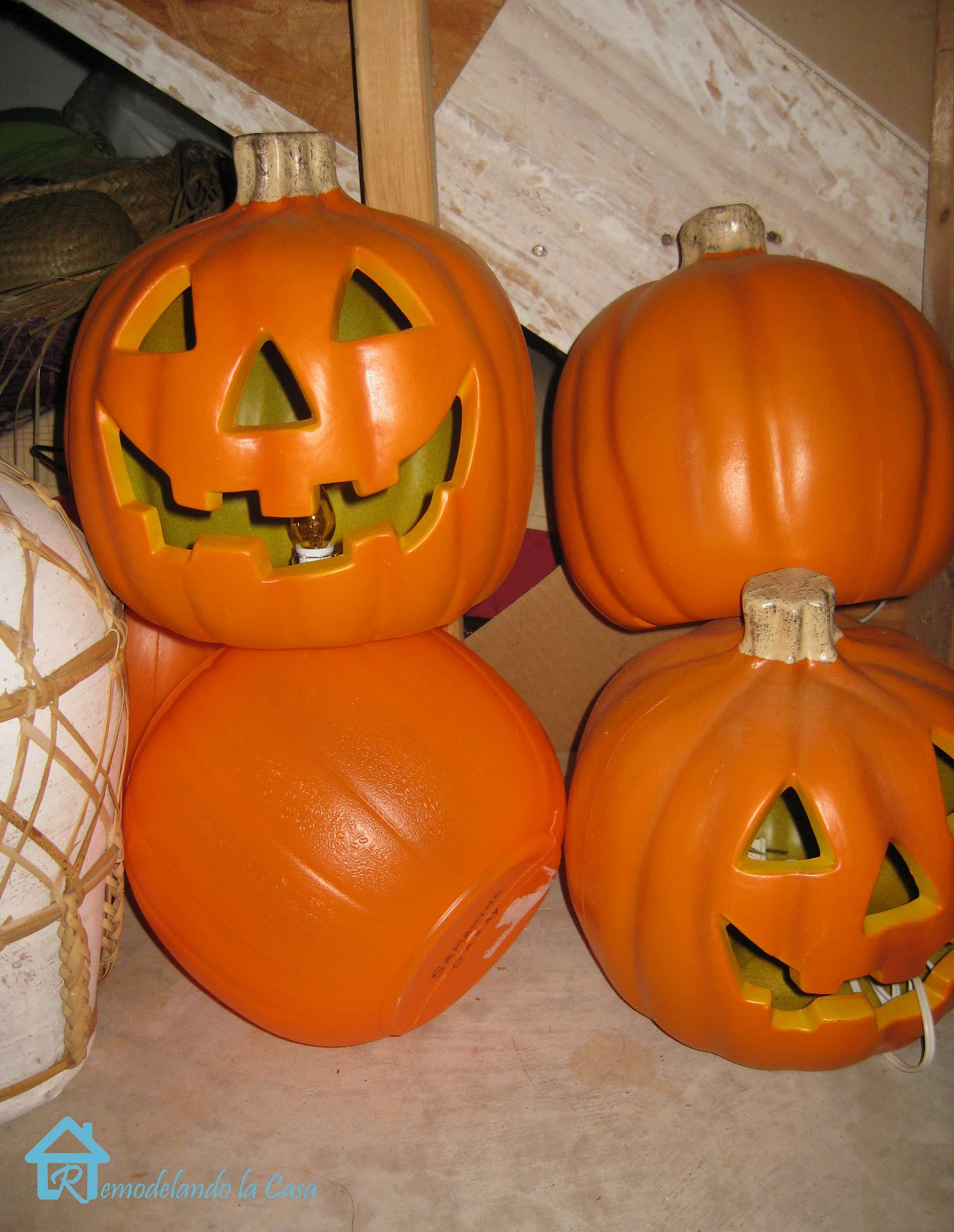 plastic jack o lanterns transformed with fabric and mod podge - Plastic Pumpkins