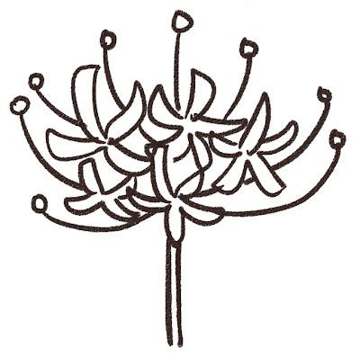 彼岸花のイラスト(花) モノクロ線画