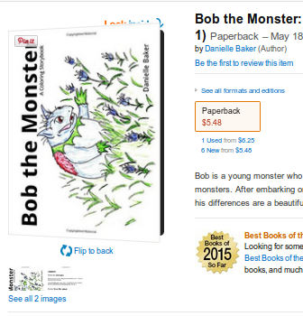 Bob the Monster Coloring Story book and Bob's First Christmas on Amazon.com