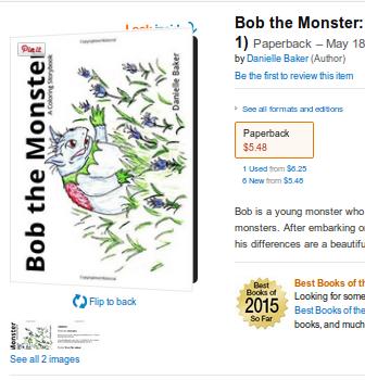 Bob the Monster Coloring Story book and Bob's First Christmas on Amazon.com