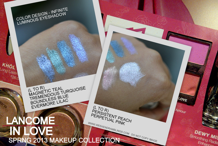 Lancome in Love Spring 2013 Makeup Collection Color Design Luminous Infinite Eyeshadow Indian Beauty Blog Swatches Magnetic Teal Tremendous Turquoise Boundless Blue Evermore Lilac