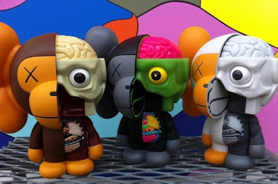 Kaws x BAPE Dissected Milo Vinyl Figure - Brown, Black and Gray Colorways