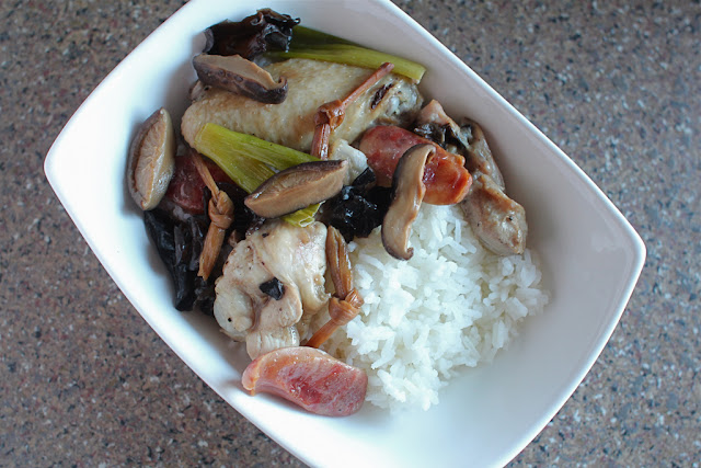 ... Steamed Chicken with Dried Lily Flowers, Shiitake Mushrooms and