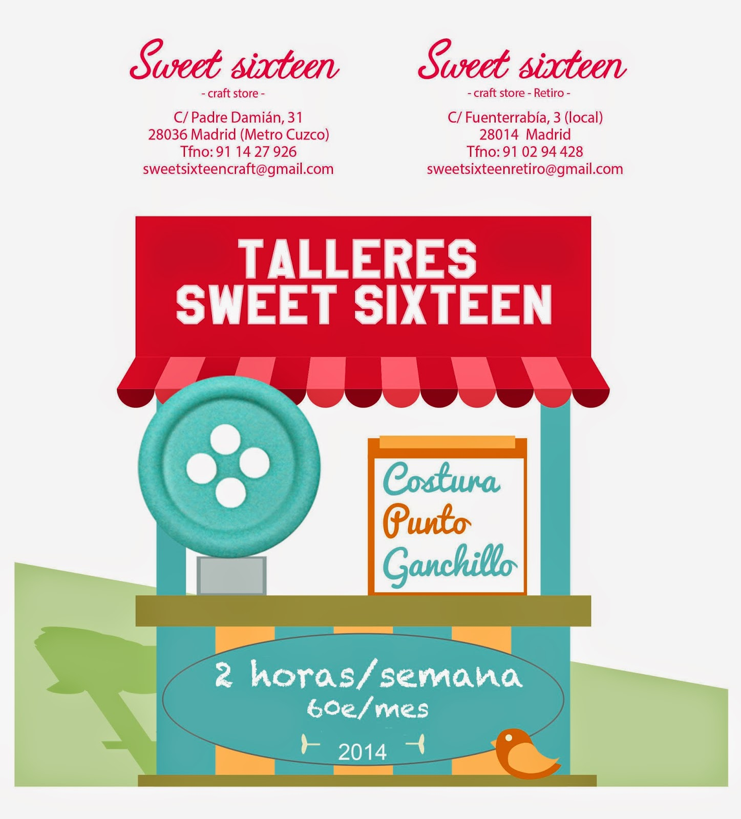 Clases continuas en Sweet sixteen craft store