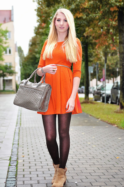 orangenes kleid von h m outfit. Black Bedroom Furniture Sets. Home Design Ideas