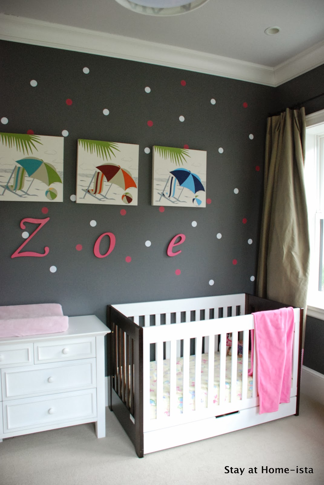 polka dot pink and white baby girl nursery