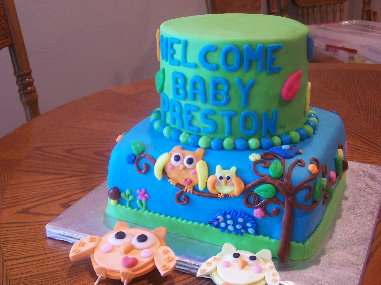 Heather Calvin Cakes Owl Baby Shower Cake