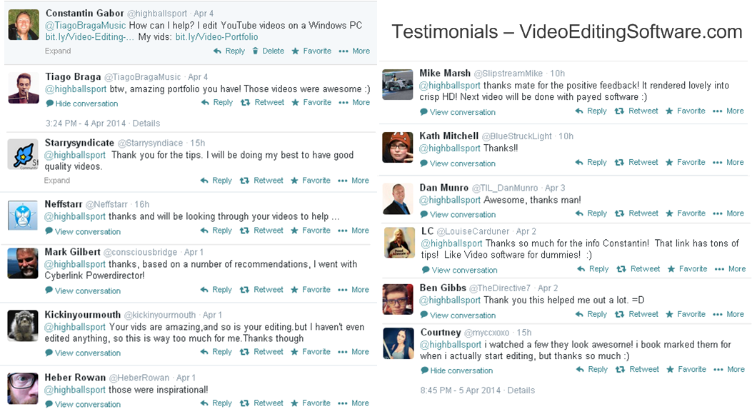 Testimonials Best Video Editing Software