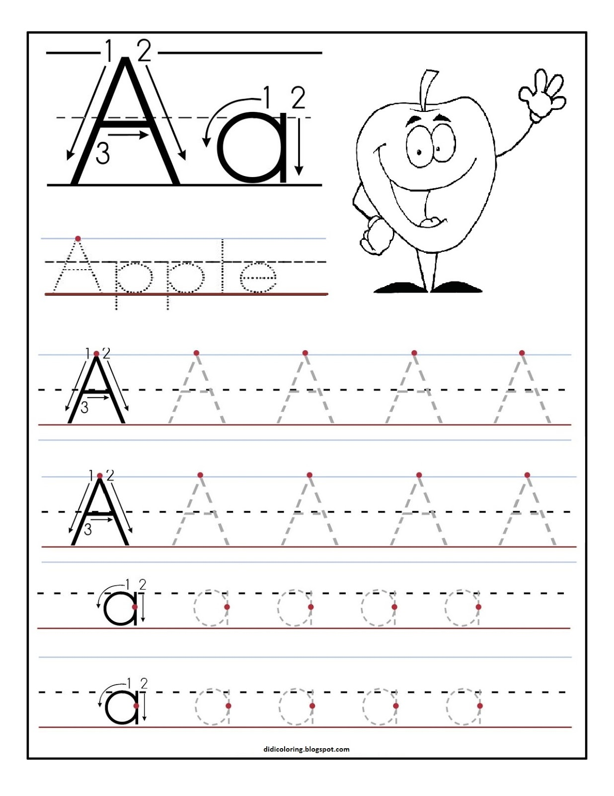 math worksheet : free printable worksheet letter a for your child to learn and  : Free Printable Letter Worksheets For Kindergarten