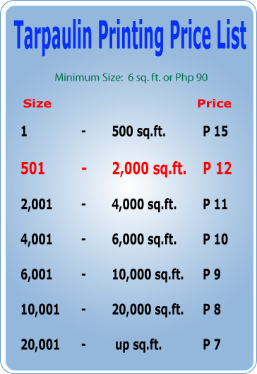large format Tarpaulin  printing price list in the philippines