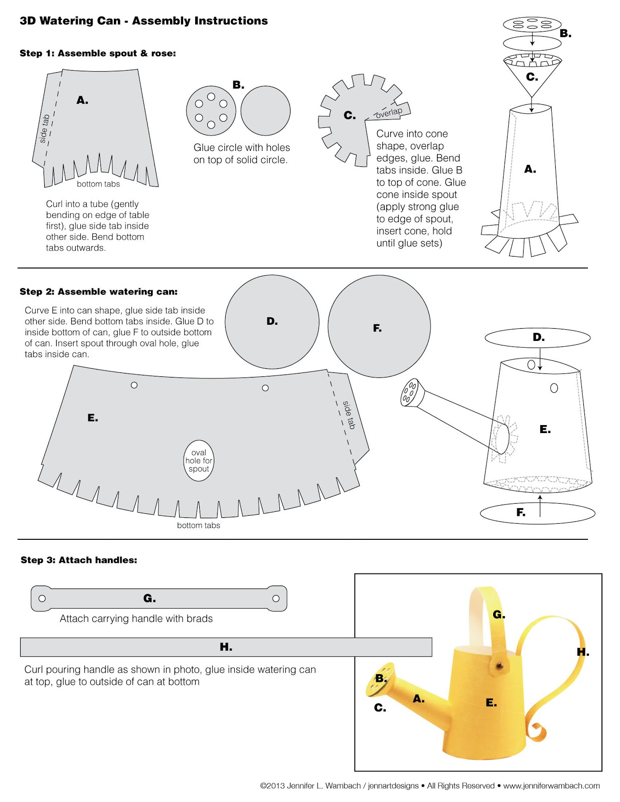 jennifer wambach design and illustration 3d watering can instructions