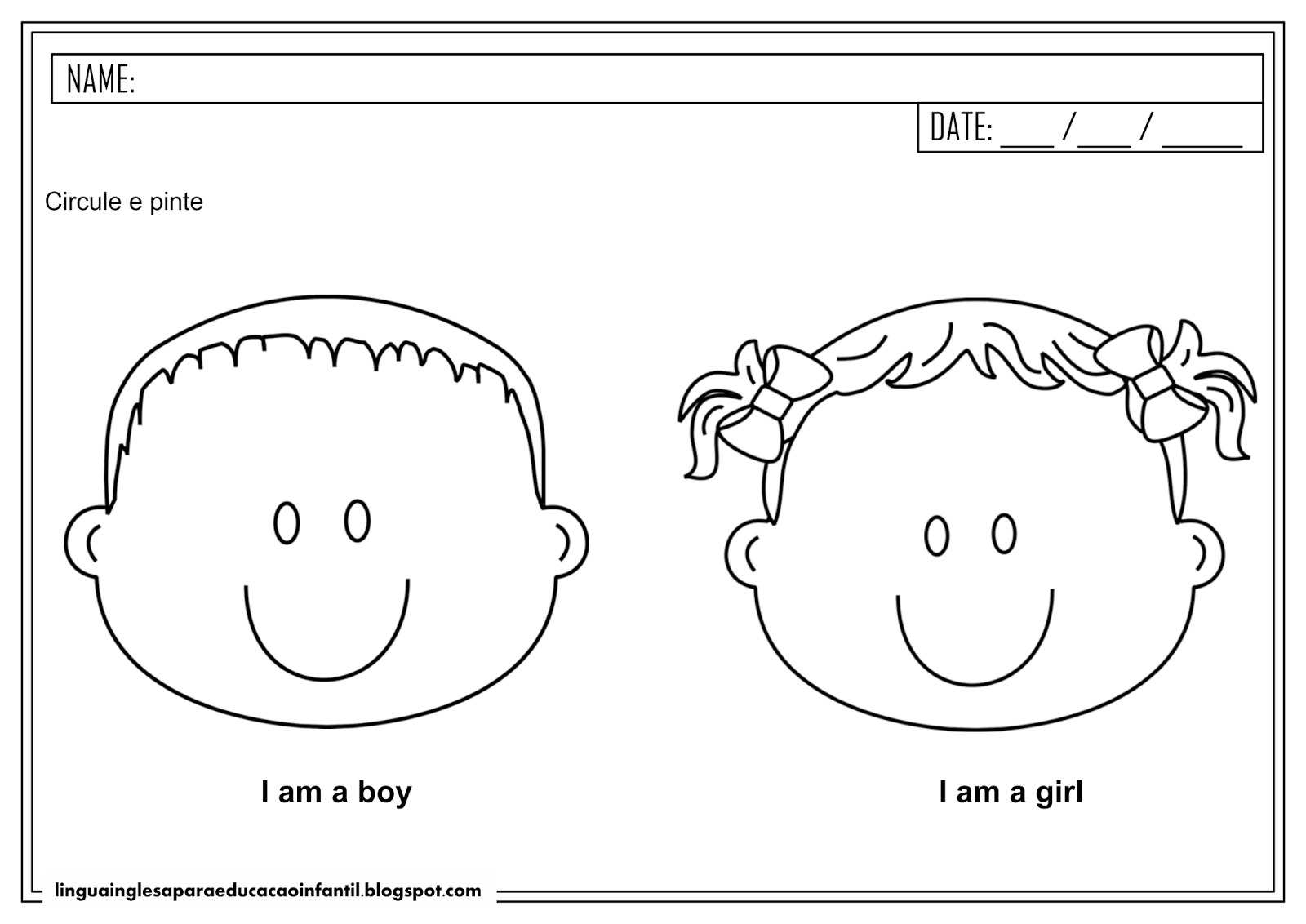 Atividade de inglês - Gêneros para educação infantil