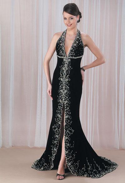 Boyundan askılı ön kısmı tamamen taş işleme gece elbise modeli