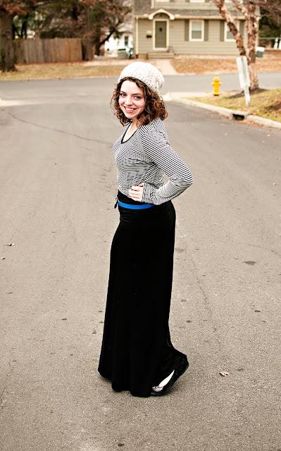 Winter Maxi Skirt, Beanie, Gap Belt and Striped Shirt