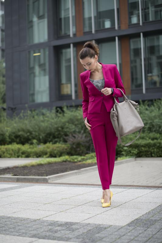 pink suit street fashion