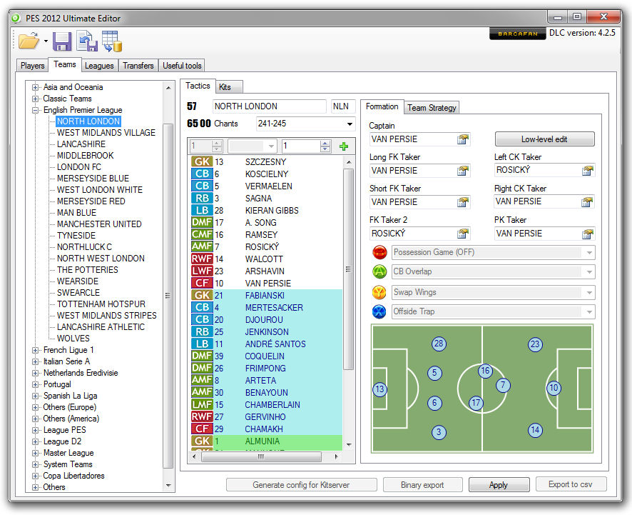 PES2012 Ultimate Editor v4.2.5 by barcafan