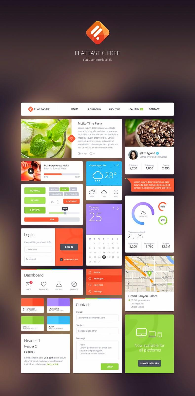 Free Flattastic UI Kit PSD