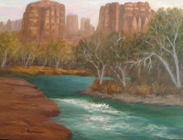 Landscape painting of sedona and creek