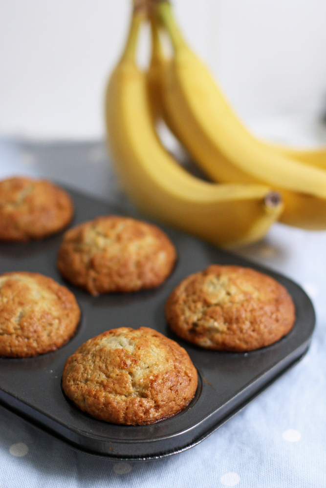 Delicious one-bowl banana muffins. Less than ten minutes from start to oven!