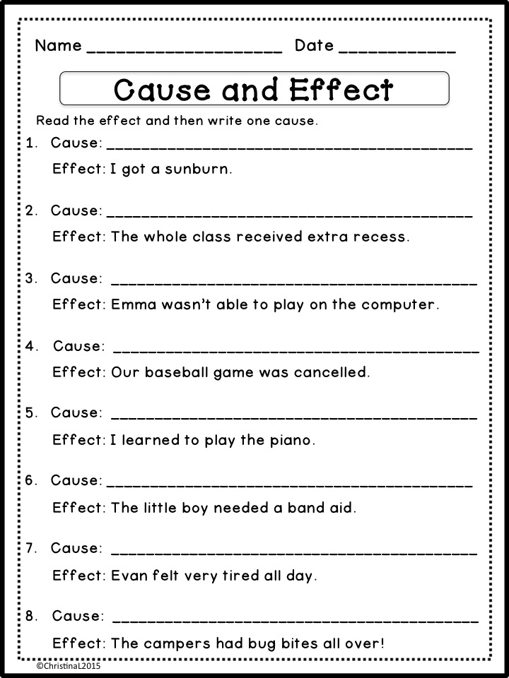 Cause and effect exercises for 2nd grade