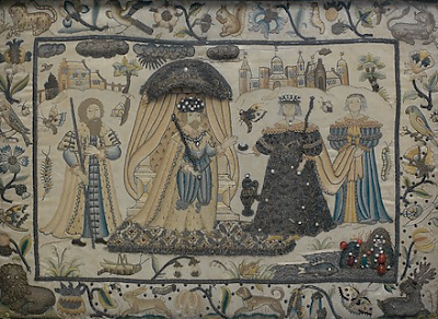 another example (this one from the collection of the Metropolitan Museum of Art) of a 17th century English stump work embroidery very similar to the one conserved by textile preservation expert, Spicer Art Conservation, located in upstate New York