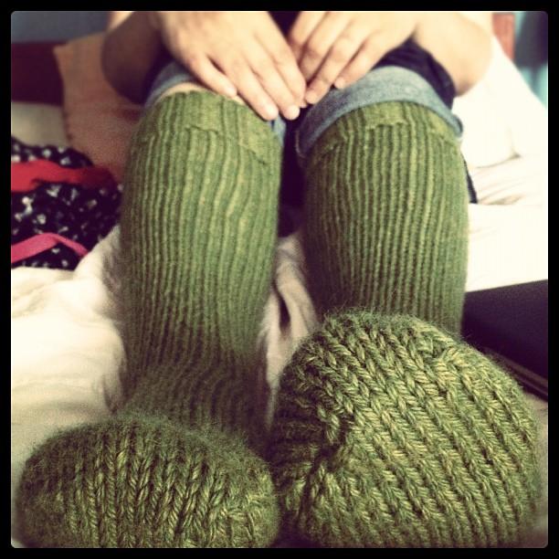 No-pattern toe-up chunky weight socks.   softsweater knits