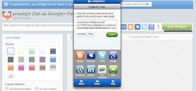 copy widget code