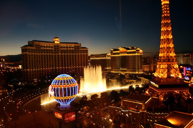 Las Vegas Strip. Bellagio y Paris desde el Planet Hollywood