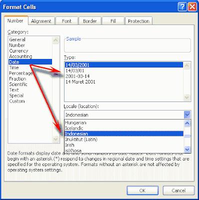 format penulisan tanggal di Ms excel 2007