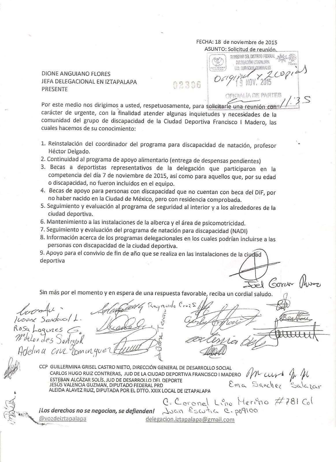 El pliego entregado en noviembre de 2015