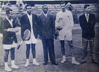 1953 – Ceylon's first Davis Cup team – L.P. Ernst, D.L. Fonseka, L.L. Fonseka (Manager), D. Scharenguivel and R. Ferdinands