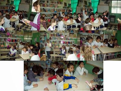 alumnos trabajando en biblioteca