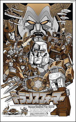 Transformers: The Animated Movie Metallic Variant Screen Print by Tim Doyle