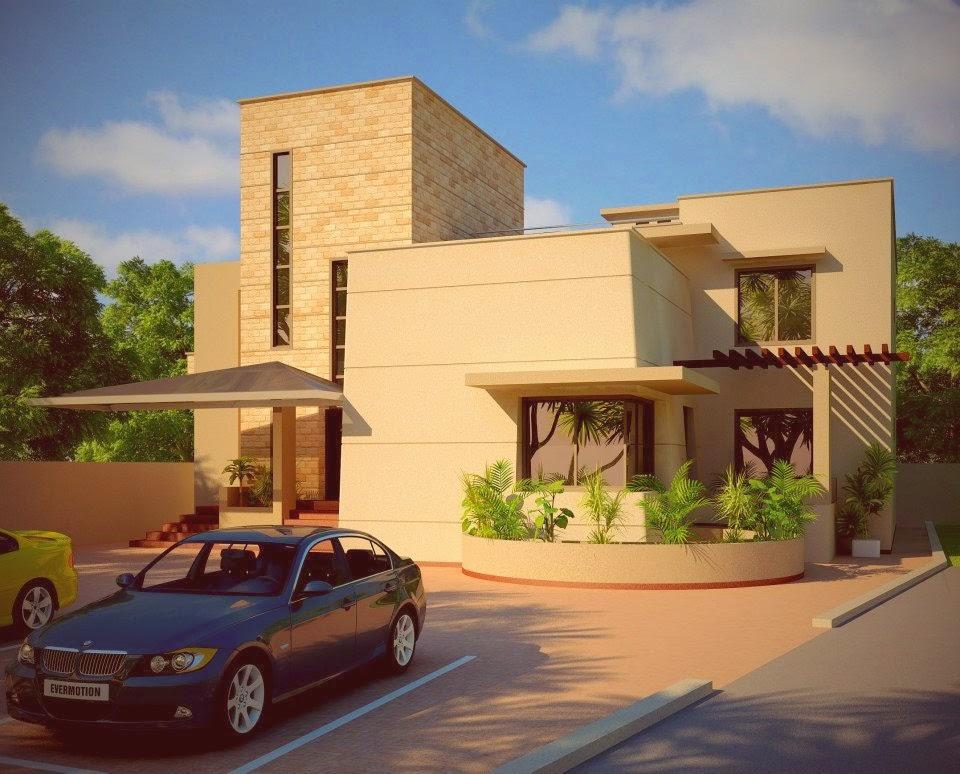 Beautiful Modern House Design + Lawn Landscaping + Garden ,in Pakistan ...