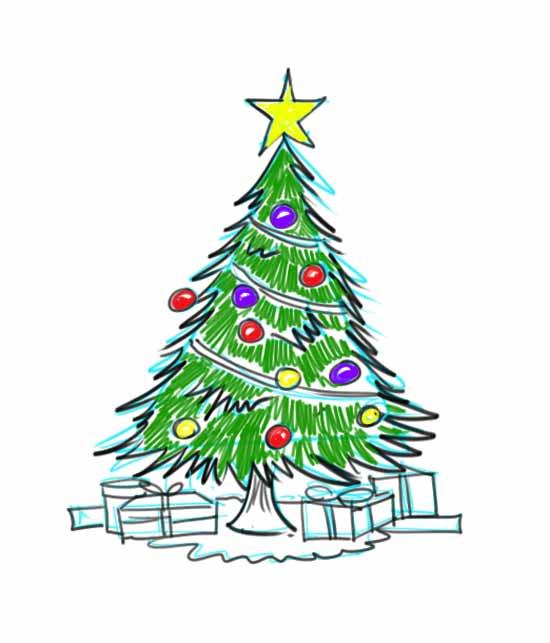Dibujo de árbol de Navidad con regalos