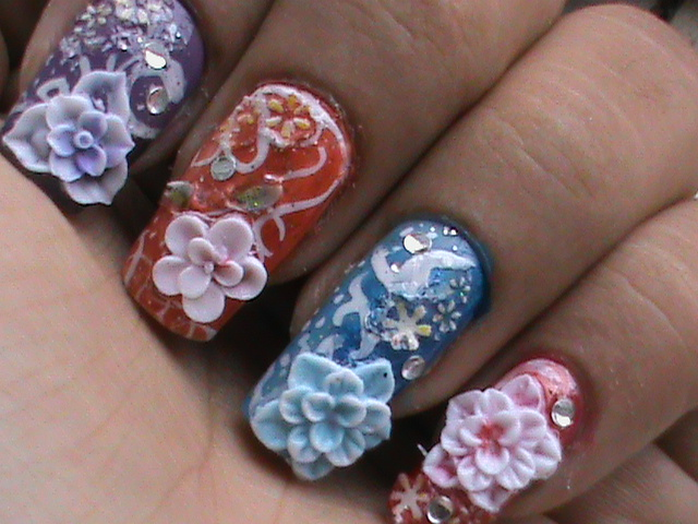 3D Video tutorial nail art - easy to do at home nail designs DIY