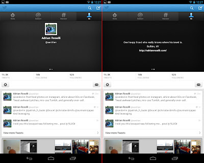 Screen capture of updated Twitter app without new header (Nexus 7).